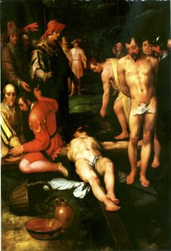 The Nailing to the Cross   Cornelis van Haarlem   Oil Painting