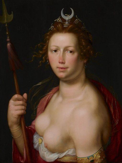 Diana as Goddess of the Hunt   Cornelis van Haarlem   Oil Painting