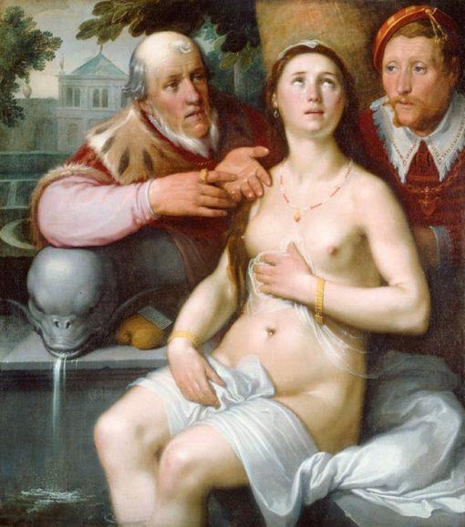 Susanna and the Elders   Cornelis van Haarlem   Oil Painting