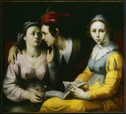 A Courting Couple and Woman with a Songbook | Cornelis van Haarlem | Oil Painting