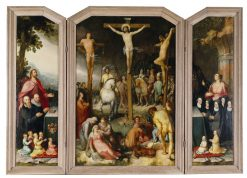 The Crucifixion with Saints and Donors   Cornelis van Haarlem   Oil Painting