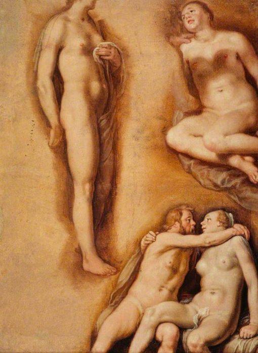 Nude Figure Studies   Cornelis van Haarlem   Oil Painting