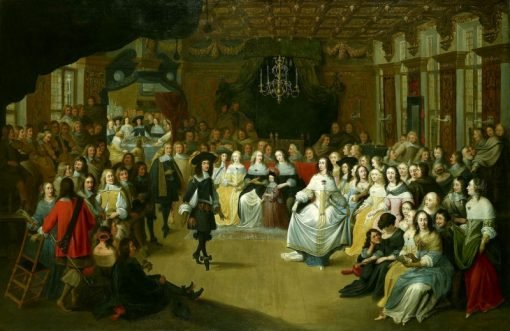 Ball given to Charles II in the Hague on his departure to England   Hieronymus Janssens   Oil Painting