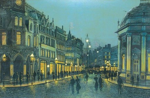Boar Lane at Night | Wilfred Jenkins | Oil Painting