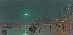 Dock scene by moonlight | Wilfred Jenkins | Oil Painting