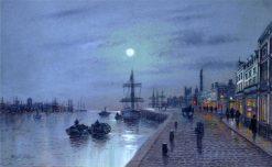 Moonlit port scene | Wilfred Jenkins | Oil Painting