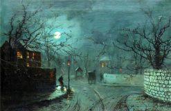 A moonlit street scene | Wilfred Jenkins | Oil Painting