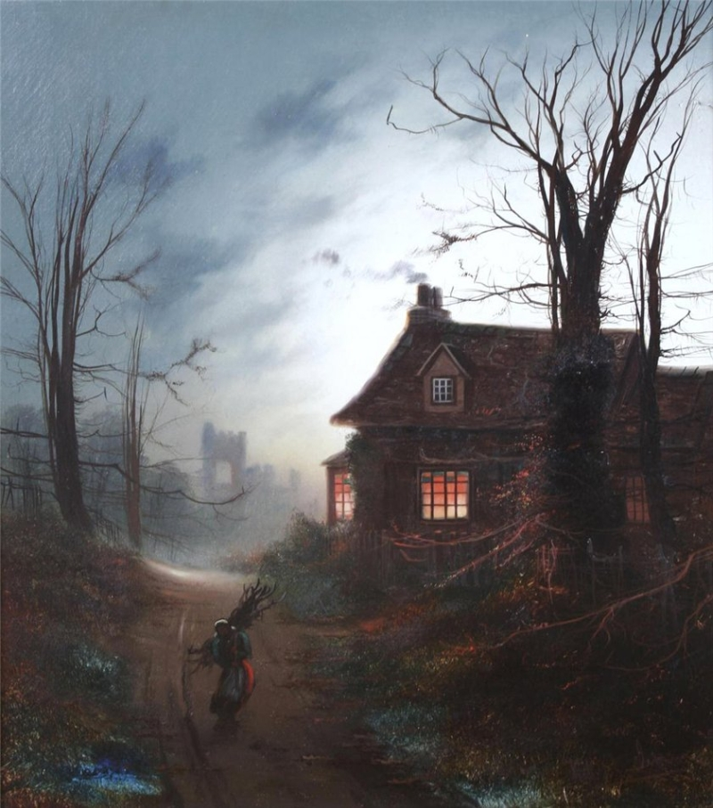 A Country House By Moonlight Painting