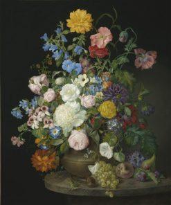 A vase of camelias