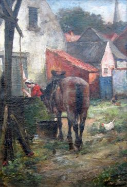 Horse at the Well | Eugène Joors | Oil Painting