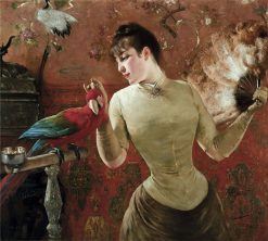 Lady with Parrot | Eugène Joors | Oil Painting