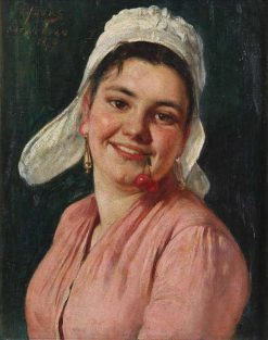 Girl with Cherry | Eugène Joors | Oil Painting