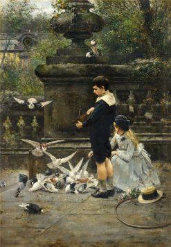 Children Feeding Pigeons in the Park | Eugène Joors | Oil Painting