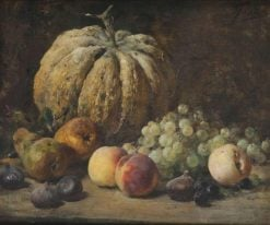 Still life with fruits and pumpkin | Eugène Joors | Oil Painting