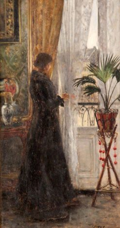 Woman Gazing Out a Window | Eugène Joors | Oil Painting