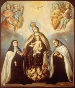 The Virgin of the Carmen with Saint Theresa and Saint John of the Cross | Juan Rodriguez Juarez | Oil Painting