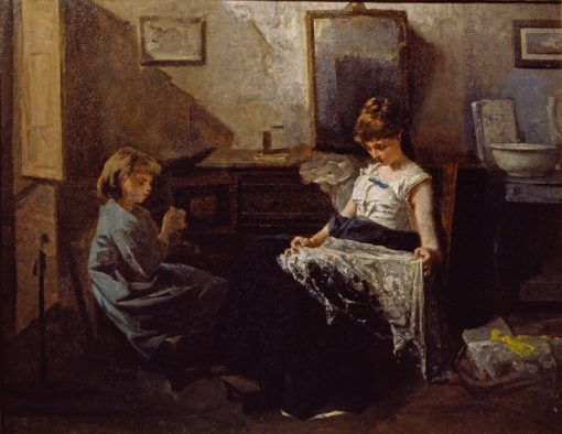 Girls Sewing | Gerolamo Induno | Oil Painting