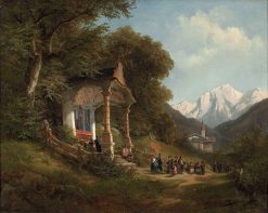Procession at the Chapel in Ramsau near Berchtesgaden | Leopold Munsch | Oil Painting