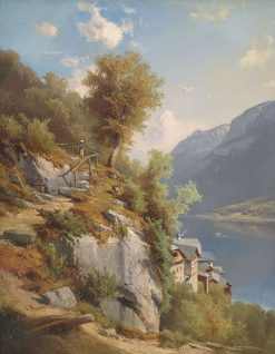 Summer Landscape with a View of Hallstatter Lake | Leopold Munsch | Oil Painting