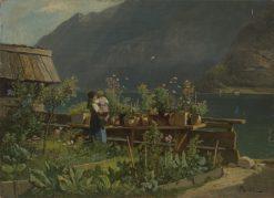 Garden on the Shore of Lake Hallstatt | Leopold Munsch | Oil Painting