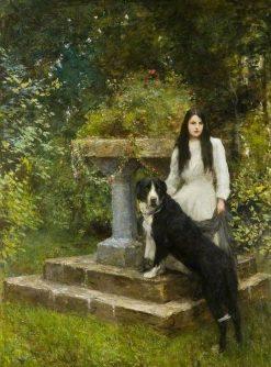 Gwenddydd and Her Dog in a Garden | Hubert von Herkomer | Oil Painting