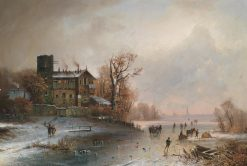 Winter Landscape with Ice Skaters | Anton Doll | Oil Painting