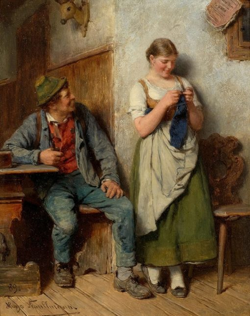 The Woodcutter and Girl Knitting | Hugo Wilhelm Kauffmann | Oil Painting