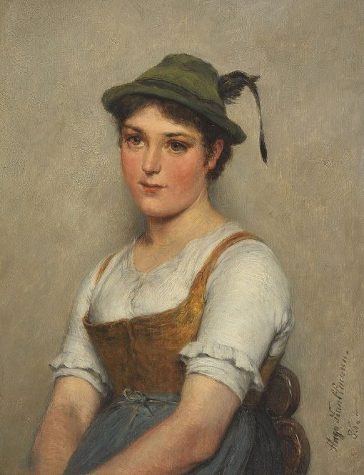 A Young Woman with Hat | Hugo Wilhelm Kauffmann | Oil Painting