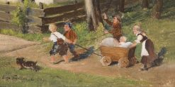 Children with a Cart | Hugo Wilhelm Kauffmann | Oil Painting