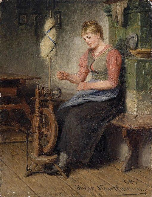 Girl Spinning | Hugo Wilhelm Kauffmann | Oil Painting