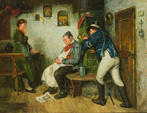 Postillon blowing into the ear of a sleeping innkeeper   Hugo Wilhelm Kauffmann   Oil Painting
