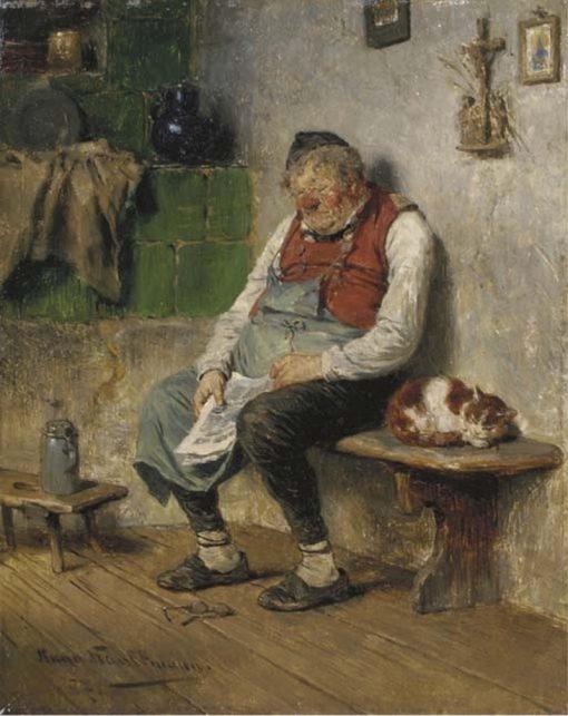 Dozing Off   Hugo Wilhelm Kauffmann   Oil Painting