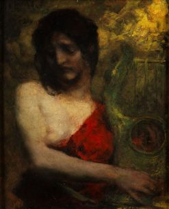 Semi-nude of a young woman in red dress with Lyra | Ferdinand Keller | Oil Painting