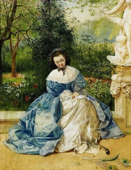 Contemplation in the sculpture garden | Edward Killingworth Johnson | Oil Painting