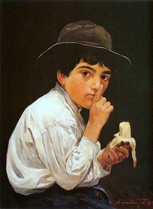 Boy with a banana   Jose Ferraz de Almeida Junior   Oil Painting