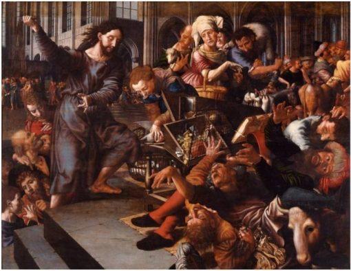 Christ driving the money changers from the temple | Jan Sanders van Hemessen | Oil Painting