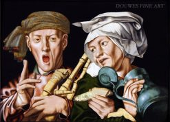 The boisterous bagpipe player and the artful woman | Jan Sanders van Hemessen | Oil Painting