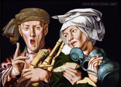 The boisterous bagpipe player and the artful woman   Jan Sanders van Hemessen   Oil Painting