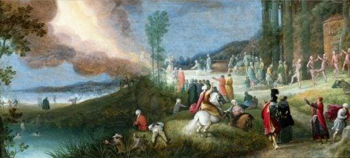 Allegorical composition with offering scene   Adriaen van Stalbemt   Oil Painting