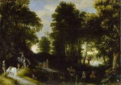 Wooded landscape on the banks of a lake | Adriaen van Stalbemt | Oil Painting