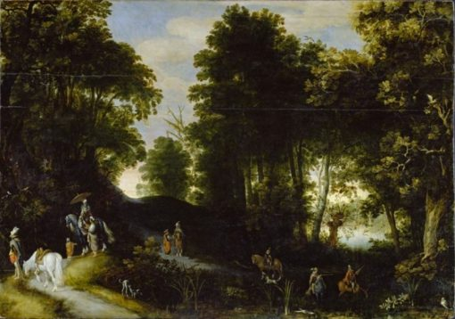 Wooded landscape on the banks of a lake   Adriaen van Stalbemt   Oil Painting
