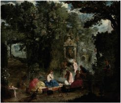 A classical landscape with nymphs bathing in a grotto | Adriaen van Stalbemt | Oil Painting