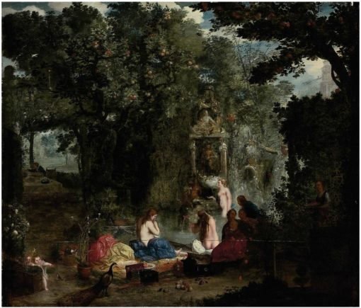 A classical landscape with nymphs bathing in a grotto   Adriaen van Stalbemt   Oil Painting