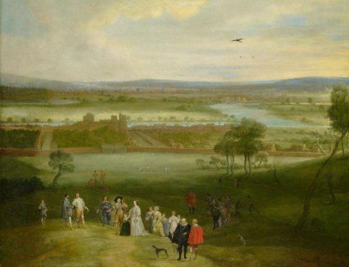 A View of Greenwich   Adriaen van Stalbemt   Oil Painting