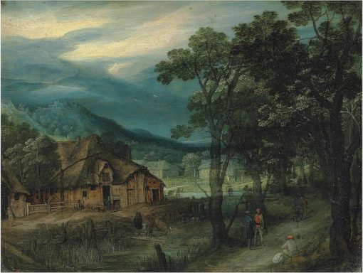A wooded landscape with travellers on a track by a village   Adriaen van Stalbemt   Oil Painting
