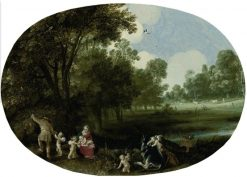 A wooded river landscape with the Rest on the Flight into Egypt | Adriaen van Stalbemt | Oil Painting