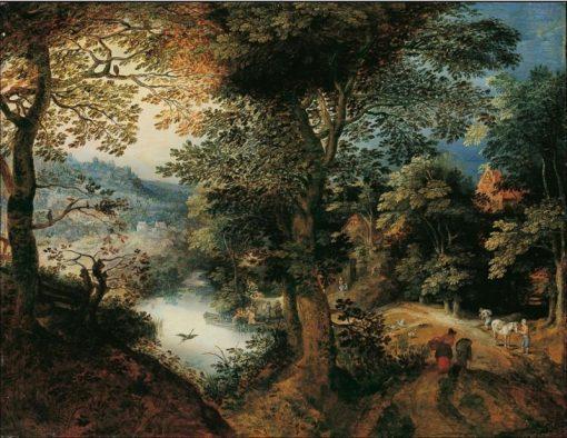 Forest landscape with farmers   Adriaen van Stalbemt   Oil Painting