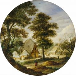 Landscapes with trees and farm houses | Adriaen van Stalbemt | Oil Painting