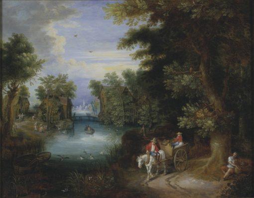 River Landscape with Peasants | Adriaen van Stalbemt | Oil Painting