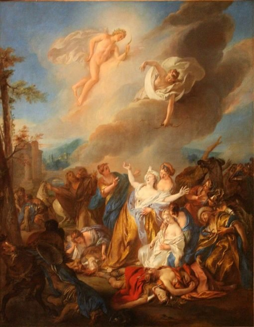 Apollo and Diane piercing with their arrows the children of Niobe | Jean-Francois de Troy | Oil Painting